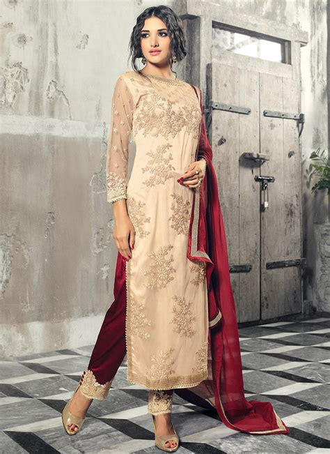 Buy Cream Net Straight Pant Suit, Embroidered, straight