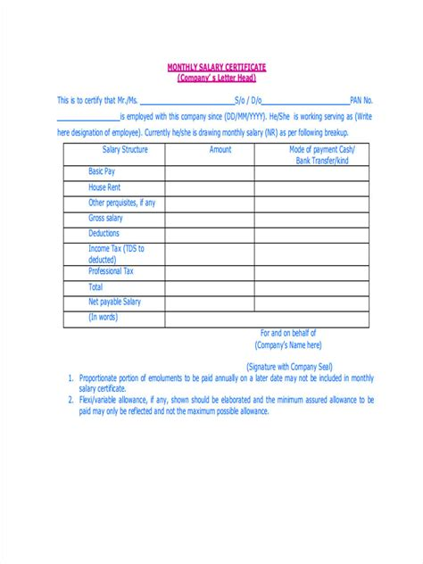 Sample Salary Statement Form - 7+ Free Documents In Word