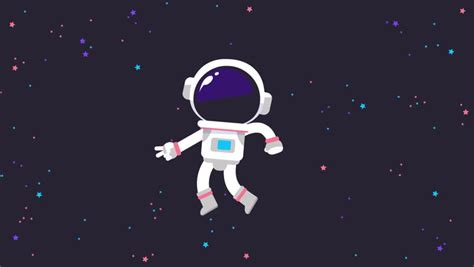 Astronaut Character Floating in Space Stock Footage Video
