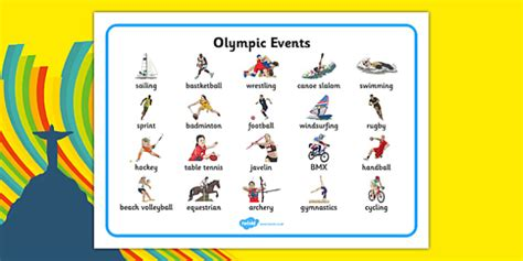 The Olympics Sports Events Word Mat - rio 2016, rio