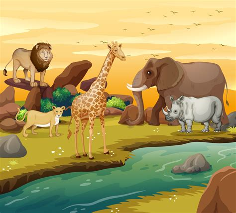 Wild animals on the river bank 446329 - Download Free