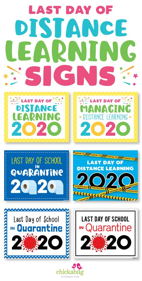 Free printable last day of distance learning 2020 signs