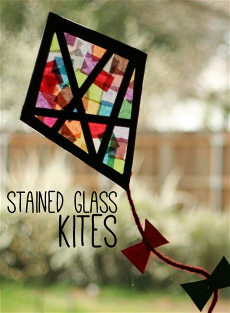 Colorful Stained Glass Kites Window Display   Make and Takes