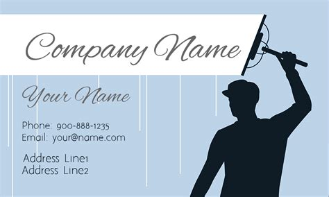 Blue Window Cleaning Business Card - Design #1303011