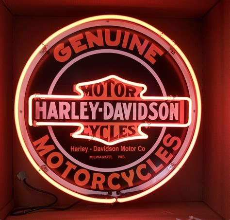 """Harley Davidson Neon Sign 24"""" Full Canned"""